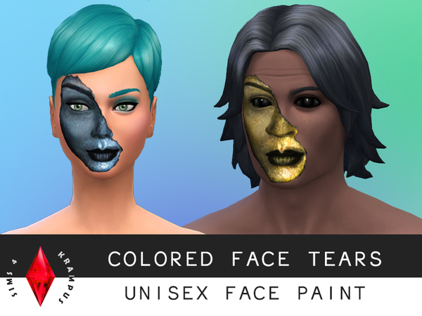 Colored Tears Unisex Face Paint by SIms4Krampus