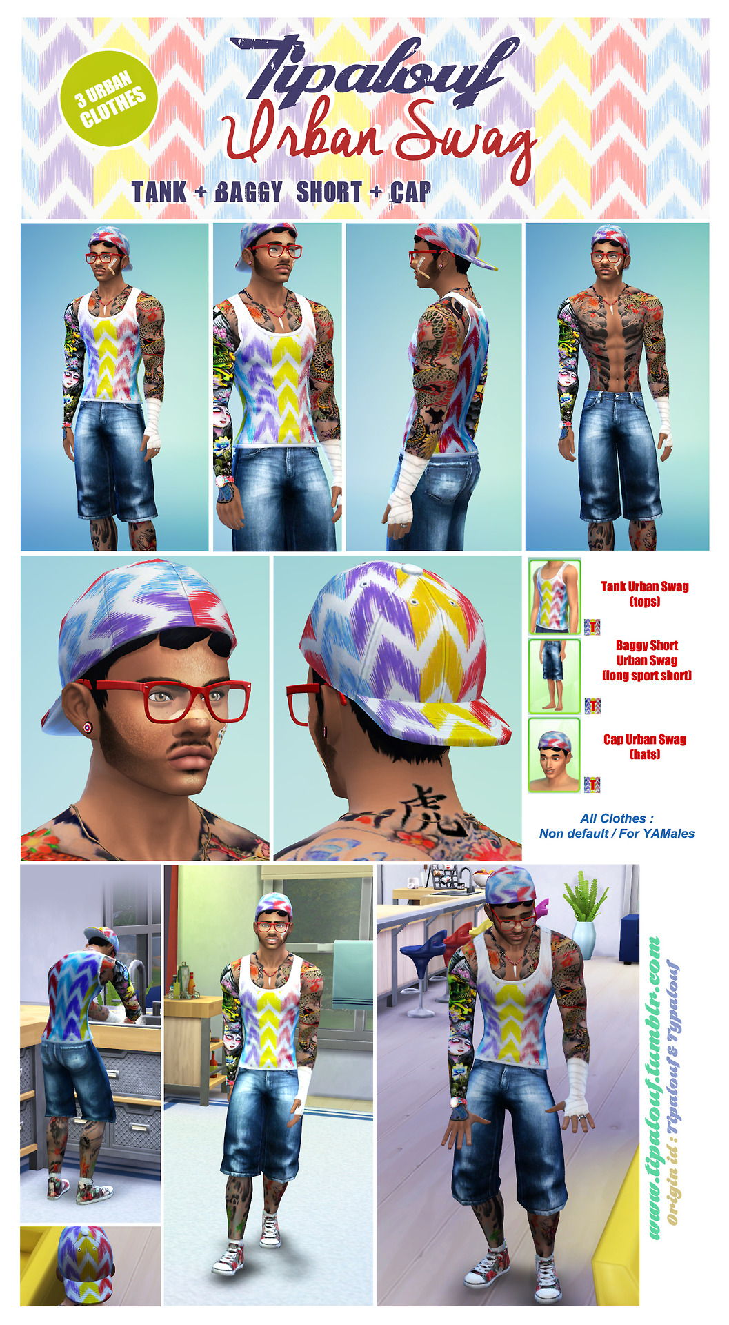 Urban Swag Tank + Baggy Shorts + Cap for Males by Tipalouf
