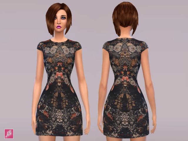 Black Floral Dress by Alexandra_Sine