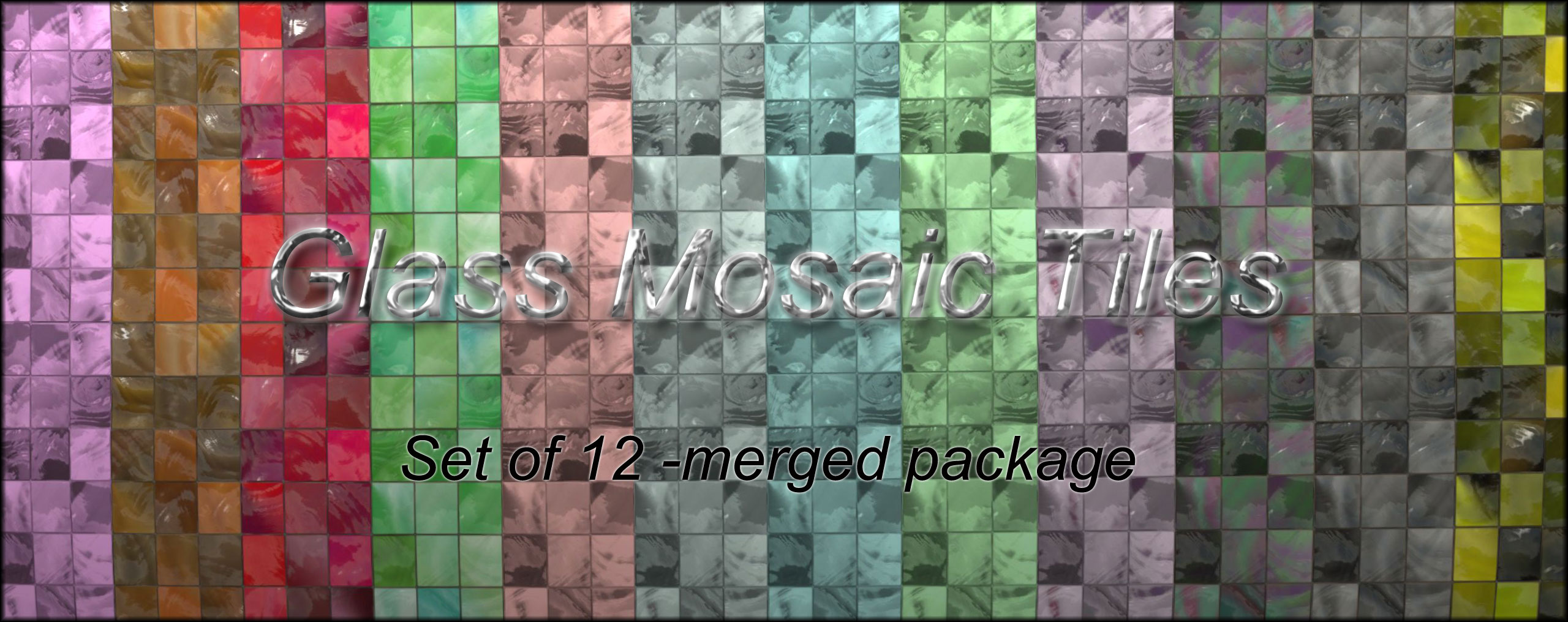 Set of 12 glass tiles by malicieuse75