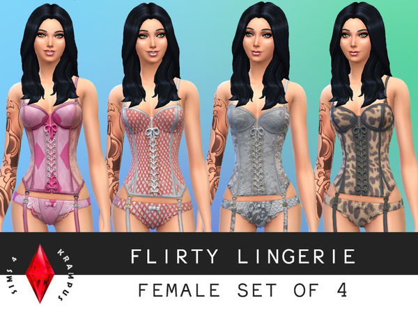 Female Set of 4 Lingerie by SIms4Krampus