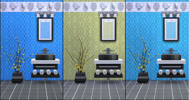 Tile Walls with Shell Trim by ERae013