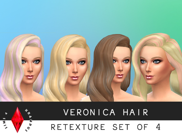 Female Hair Re-texture Set of 4 by SIms4Krampus