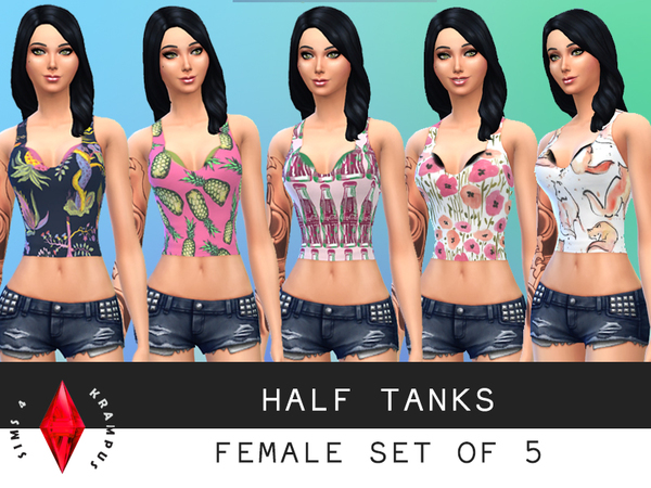 Set of 5 Female Half Tanks by SIms4Krampus