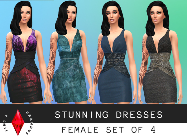Set of 4 Stunning Dresses by SIms4Krampus