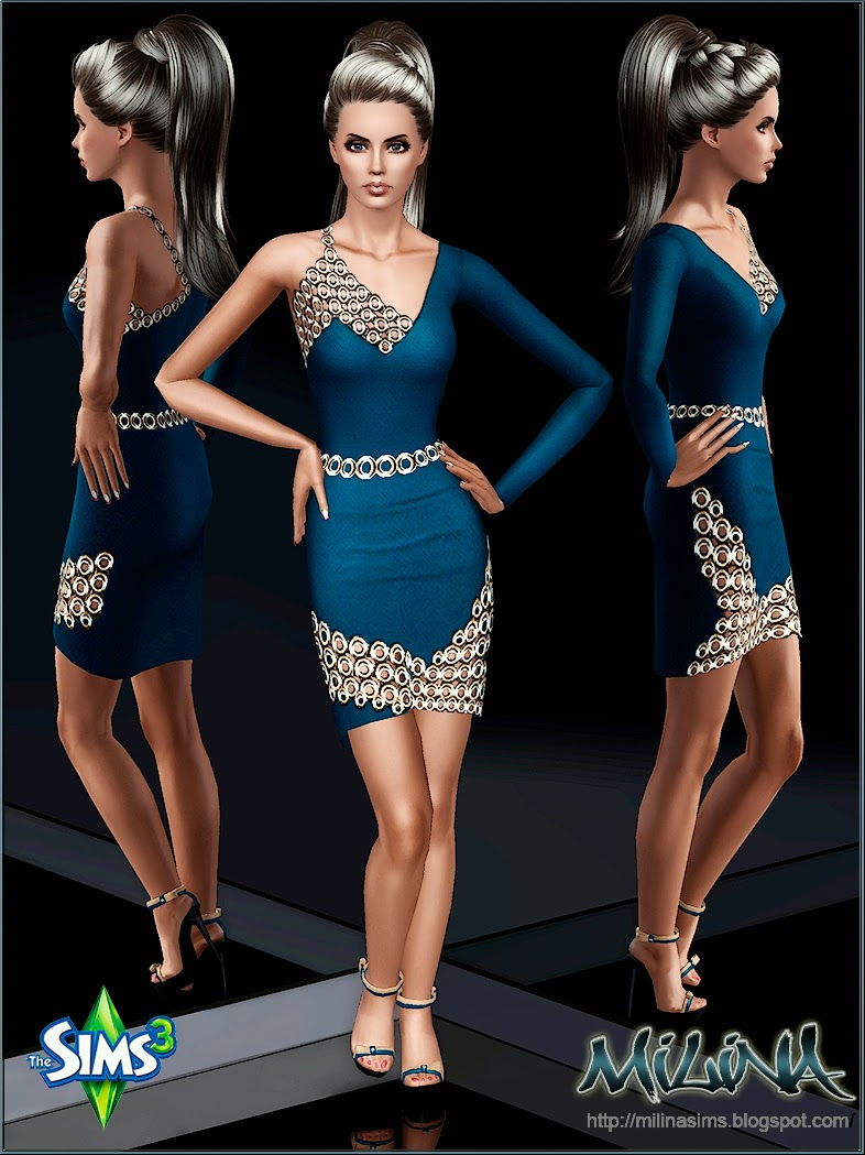 Dress with decor type of chain mail by Milina