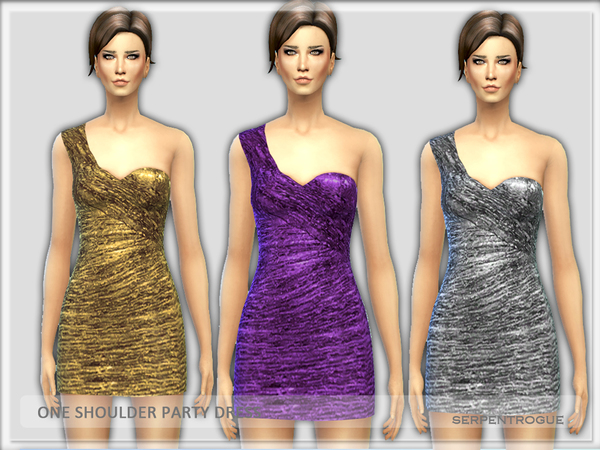 One Shoulder Party Dress by Serpentrogue
