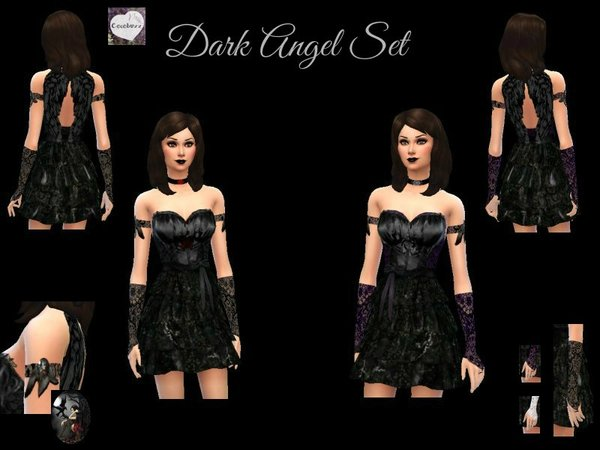 Dark Angel Set - Dress and Lace Gloves by Cocobuzz
