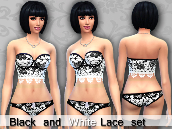 Black and white lace lingerie set by Pinkzombiecupcakes