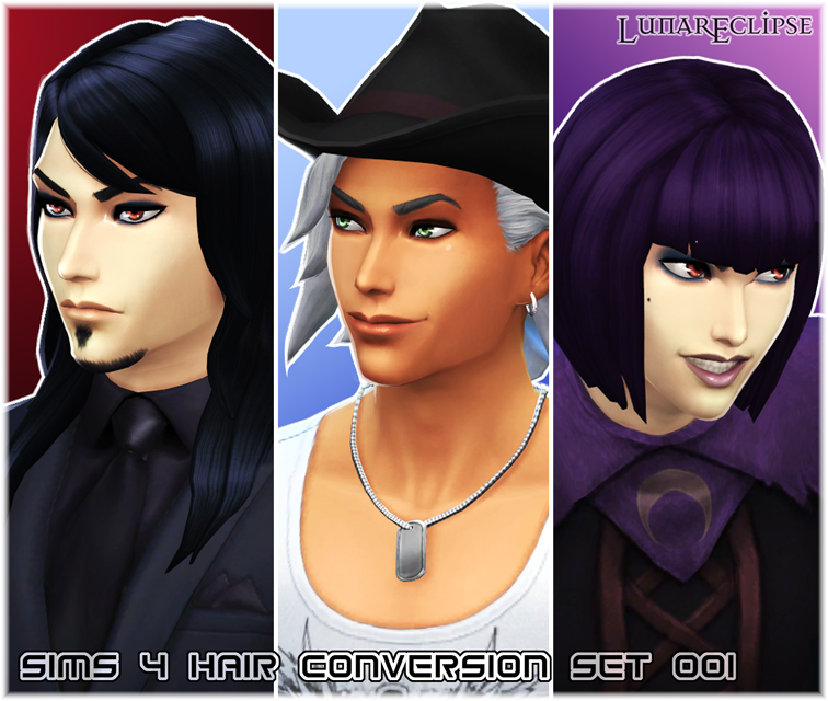 Sims 4 Hair Conversion Set 001 by Lunar Eclipse