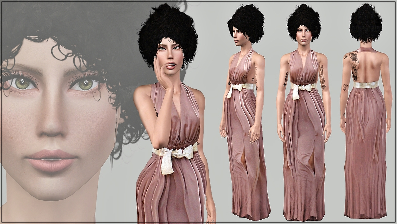 Beige Crepe Dress by Artsims