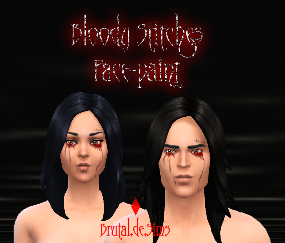 Bloody Stitches Face-Paint at Brutal de Sims4