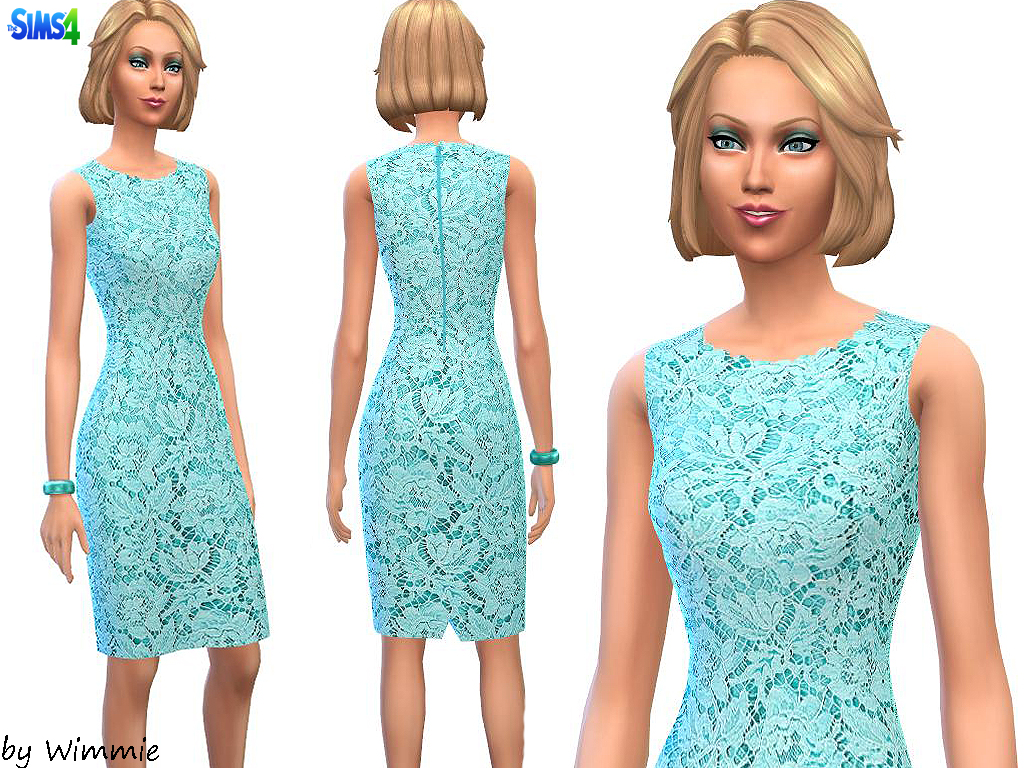Lace Overlay Sheath Dress by Wimmie