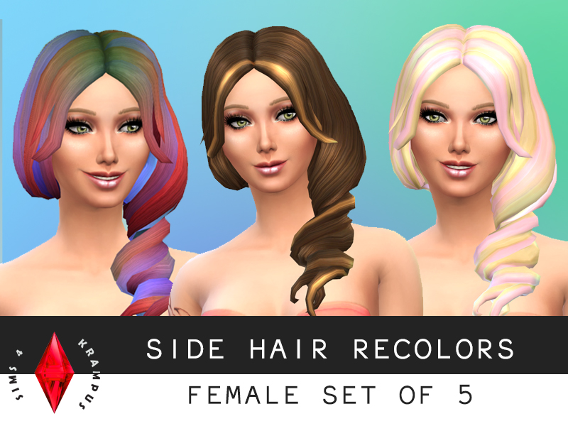 Twisted side hair re-textures at Sims 4 Krampus
