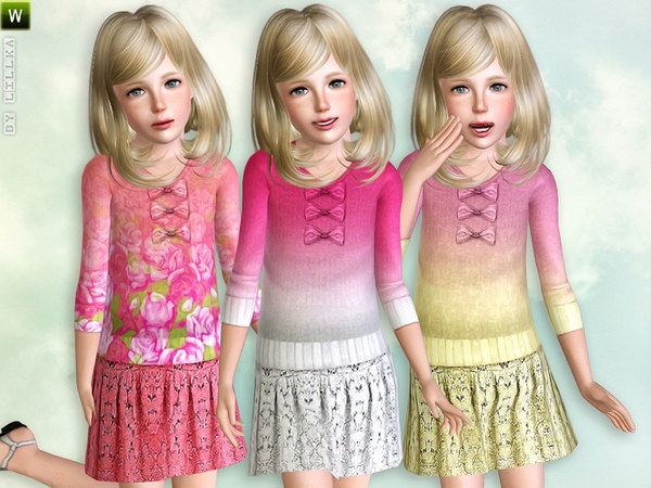 Double-Color Knit Sweater with Skirt by lillka