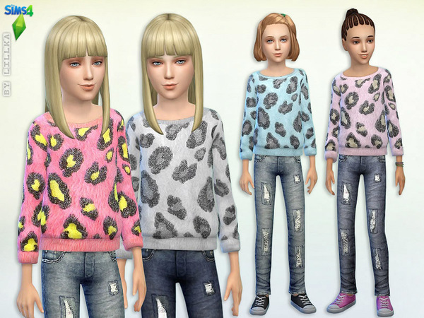 Fuzzy Animal Print Sweater & Jeans - Set by lillka