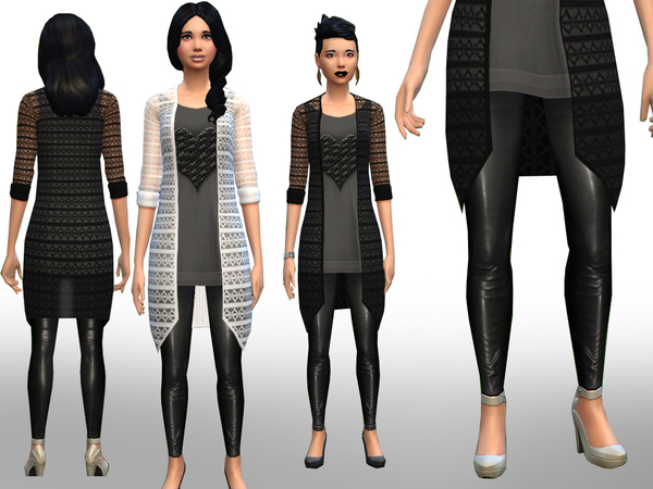 Laced blazer and leather leggings by Weeky