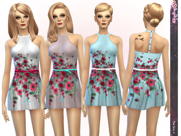 Floral Hand-Painted Dress by Simsimay