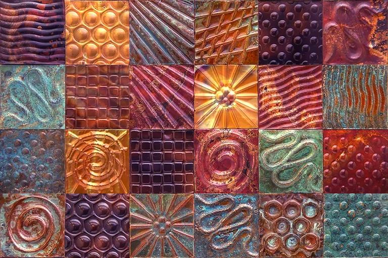 Embossed Metal Art Wall Tile Set by WooTi