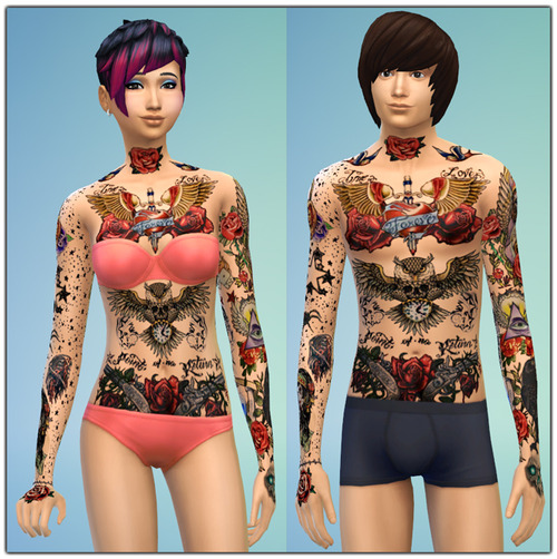 Old School Tattoos + Skull Tattoo at Gefa Sims