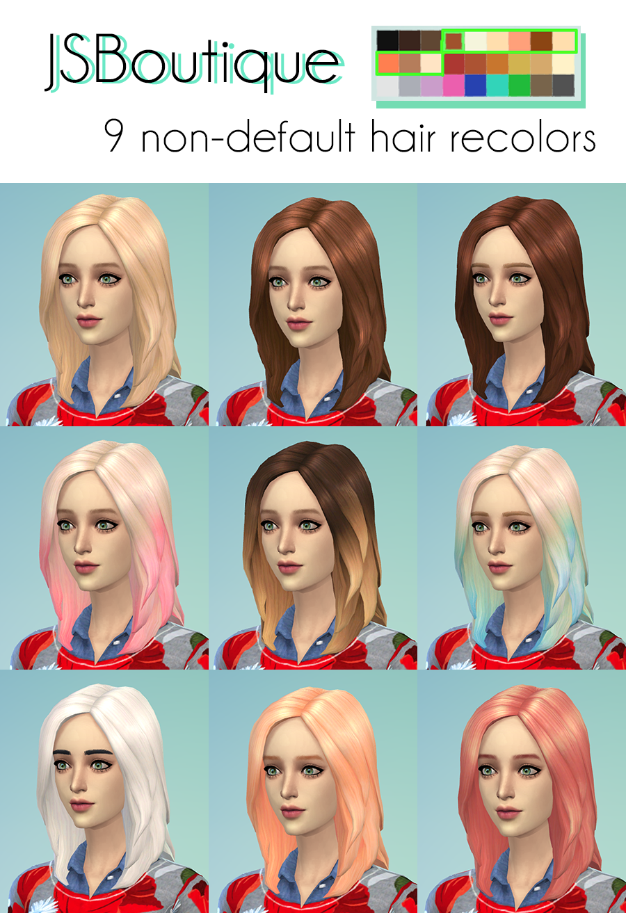 9 non-default hair recolors by JSBoutique