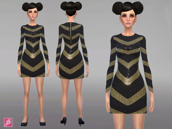 Black and Gold Long Sleeve Dress by Alexandra_Sine