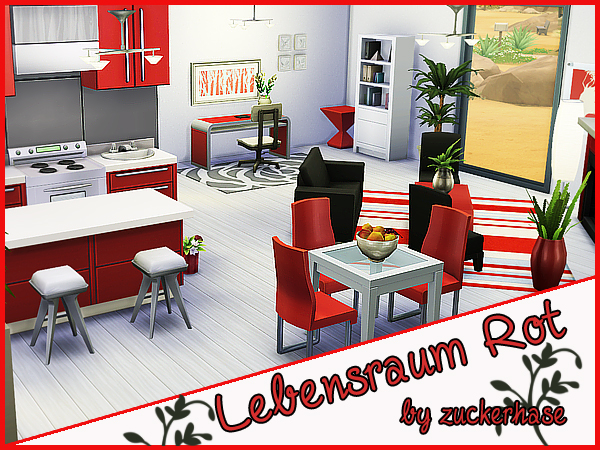 Red living/kitchen/dining by zuckerhase