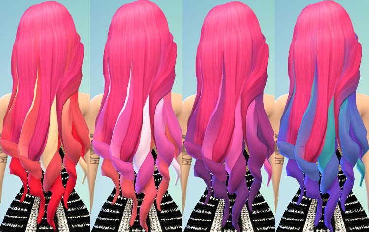 Hot pink Hair Chalked Ombres at Ohmyglobsims