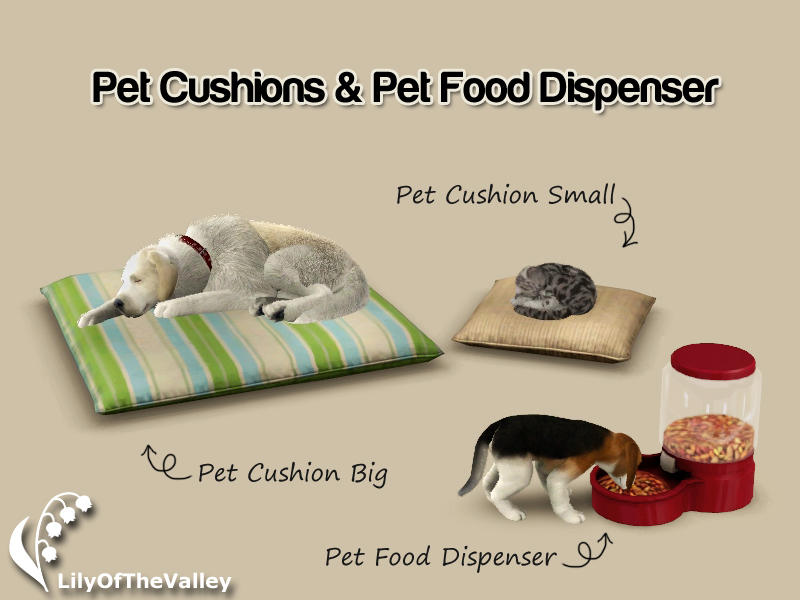 Pet Cushions and Food Dispenser by LilyOfTheValle