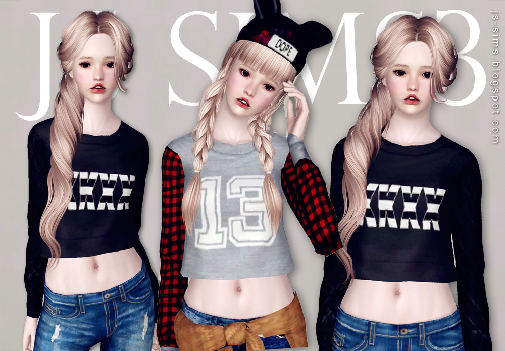 Long-Sleeves Crop Top by JS Sims3