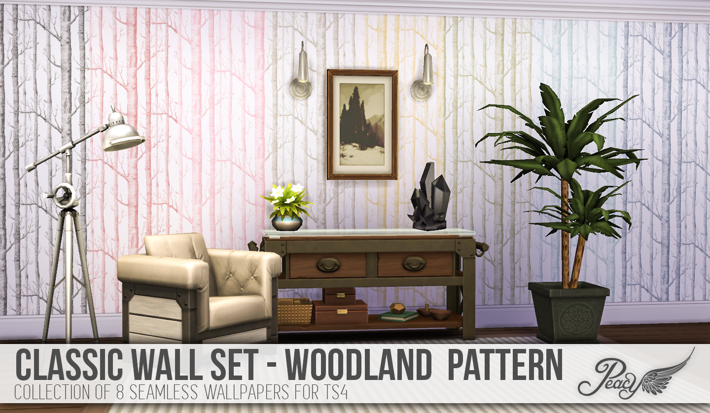 Classic Walls For TS4 - Woodland Wallpaper by Peacemaker IC