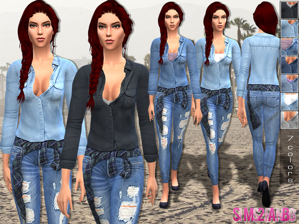 13 - Female denim outfit by sims2fanbg