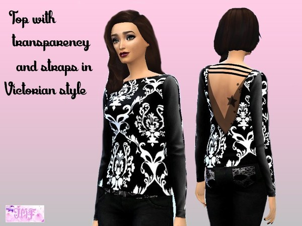 Backless top with transparency and straps in Victorian style Published by IzzieMcFire