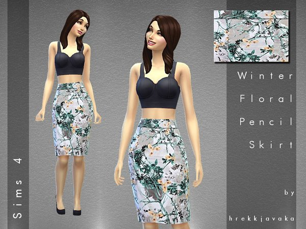 Floral Winter Pattern High-Waisted Skirt by hrekkjavaka