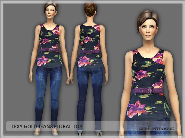 Lexy Gold Jean & Floral Top by Serpentrogue