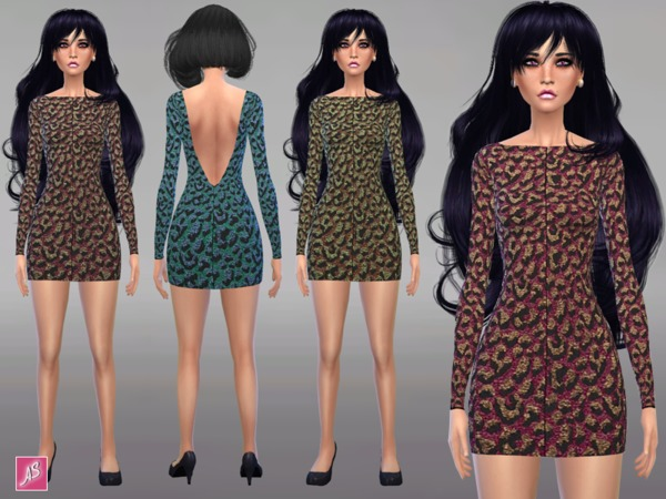 Backless Jacquard Leopard Dress by Alexandra_Sine