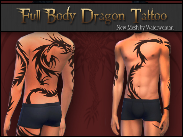 Full Body Dragon Tattoo by Waterwoman
