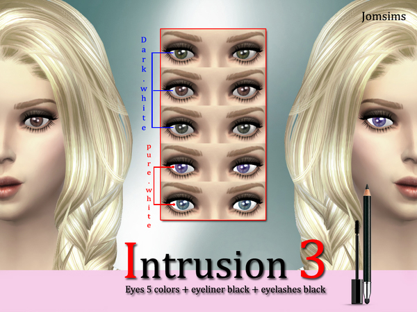 Intrusion 3 eyes 5 colors + eyeliner black + eyelashes by jomsims