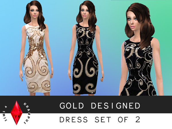 Set of 2 Gold Embellished Dresses by SIms4Krampus