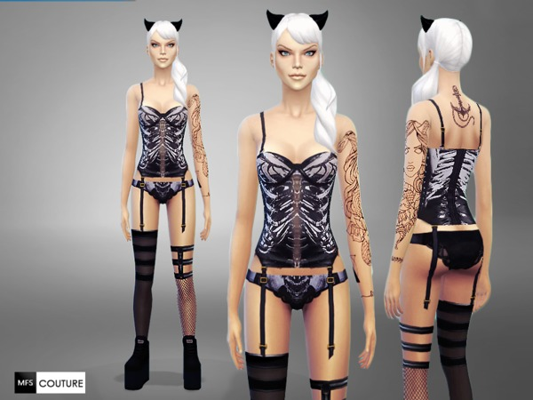 Naughty Skeleton Lingerie by MissFortune