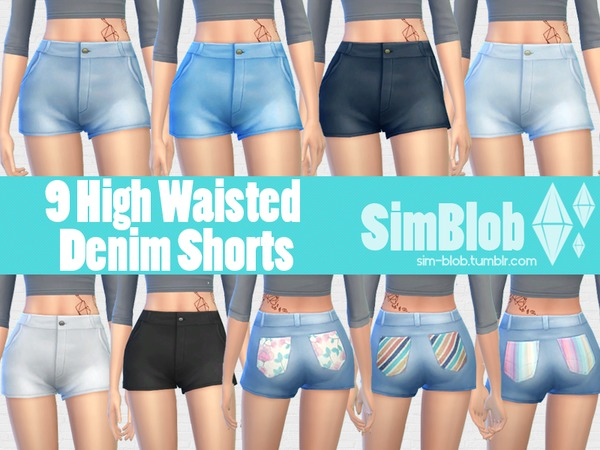 [SimBlob] High Waisted Denim Shorts by SimBlob