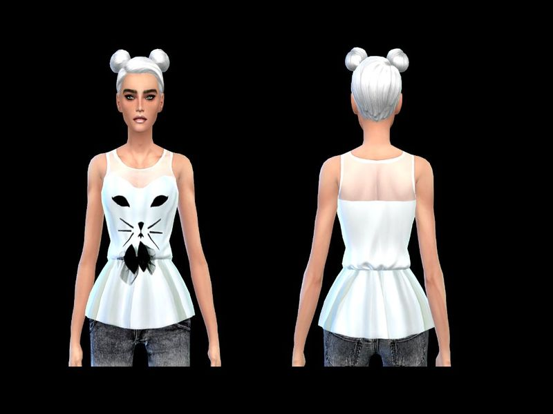 sweet transparent cat blouse by simsoertchen