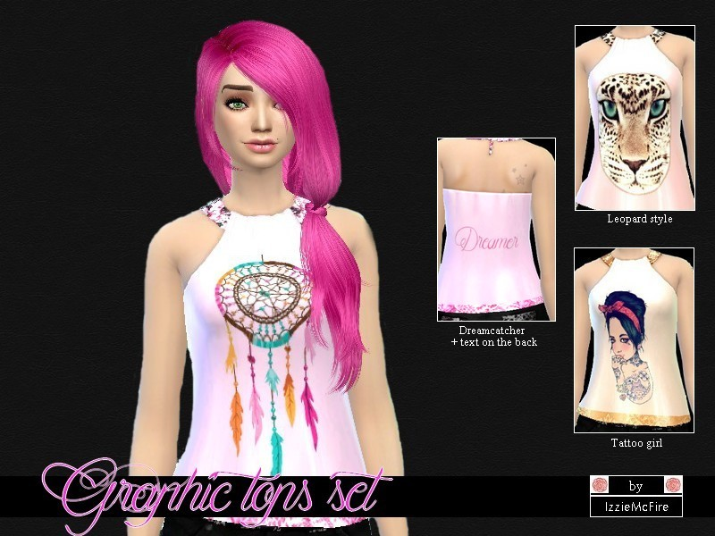Graphic tops set by IzzieMcFire