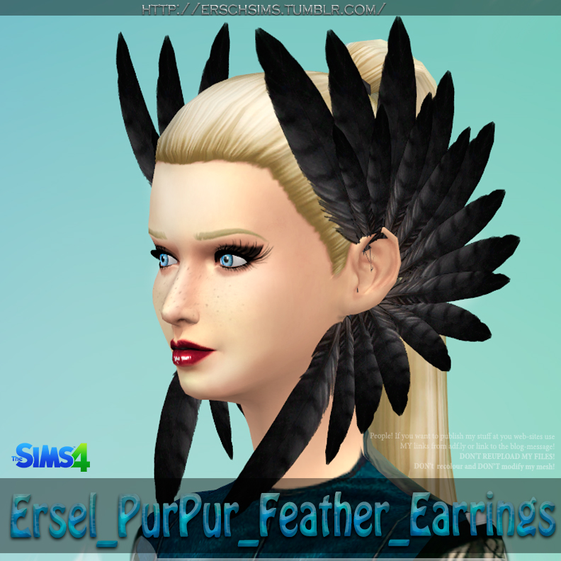 PurPur Feather Earrings by Ersel