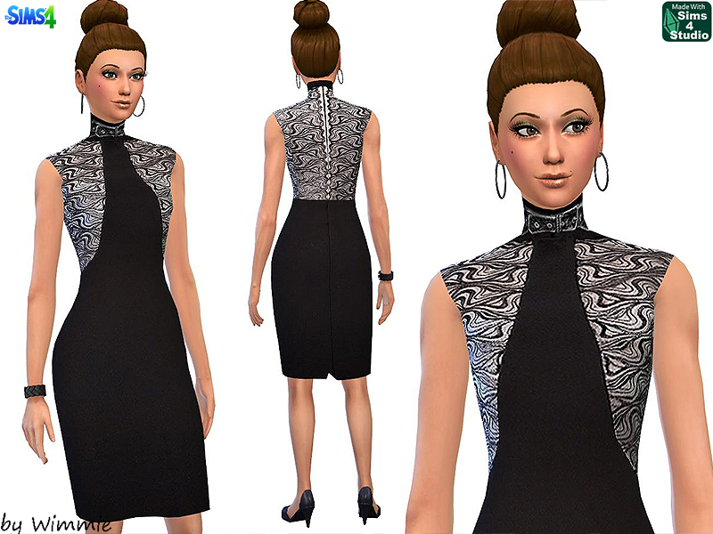Belted Collar Dress with Lace by Wimmie