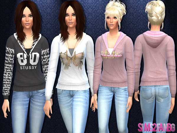 15 - Female hoodie sweatshirt by sims2fanbg