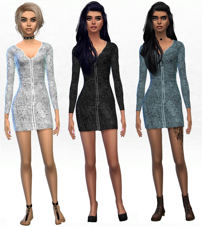 Zip Up Lace Dress in 9 Colors by Eyemythsims