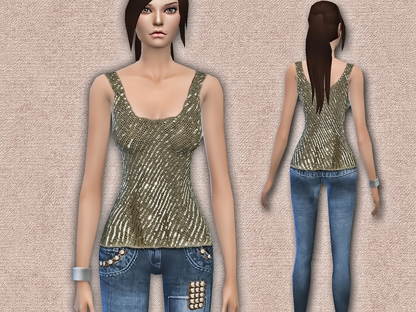 Sequin Detail Top / Jeans by Harmonia