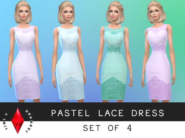 Set of 4 Pastel Lace Dresses by SIms4Krampus