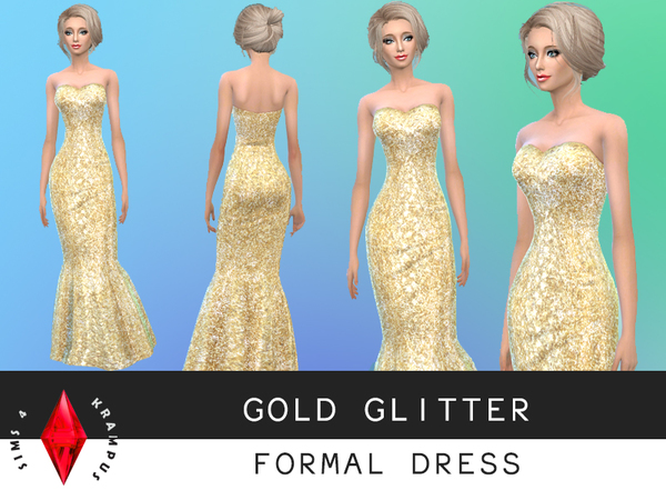 Gold Glitter Formal Dress by SIms4Krampus